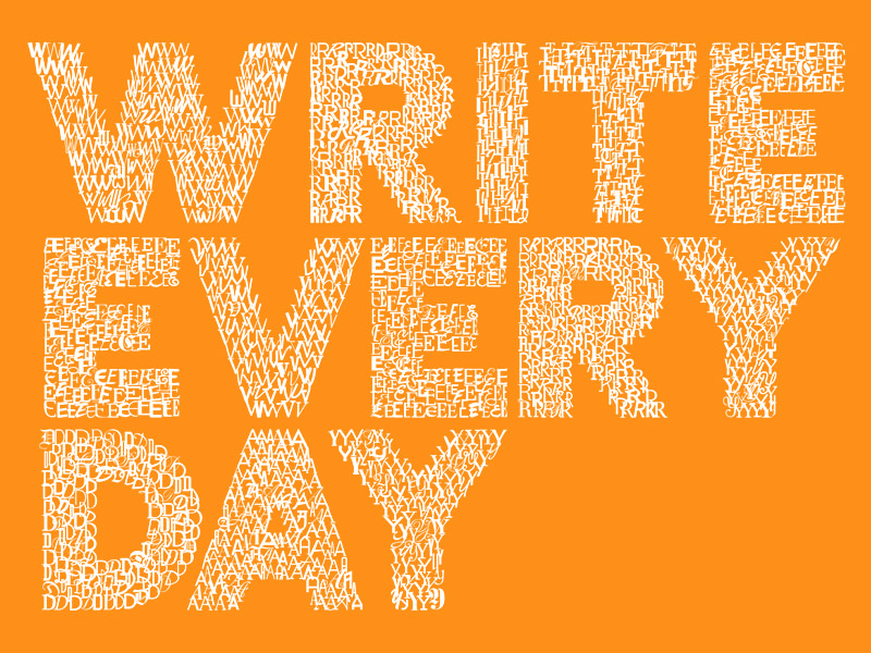 Write Every Day Type Logo Left Aligned Yellow 12 Habits that Change Life, which you can start Today